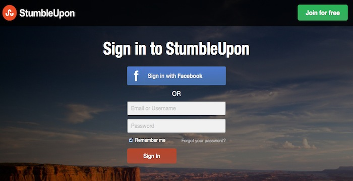StumbleUpon-Login